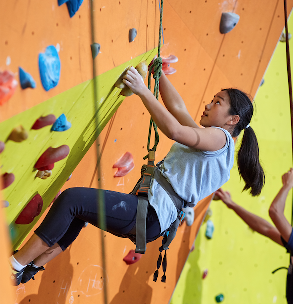 A female student using the indoor climbing wall.